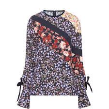 Reba Stripe Floral Print Blouse