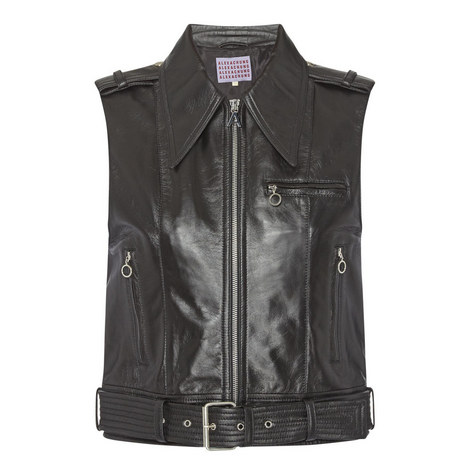 Sleeveless Leather Gilet Jacket, ${color}