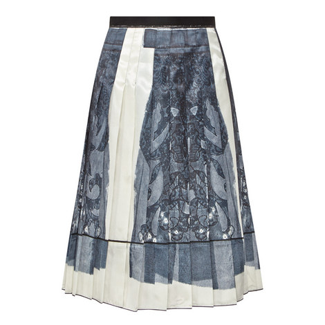 Pleated Twill Skirt, ${color}