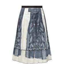 Pleated Twill Skirt