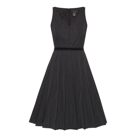 V-Neck Faille Dress, ${color}