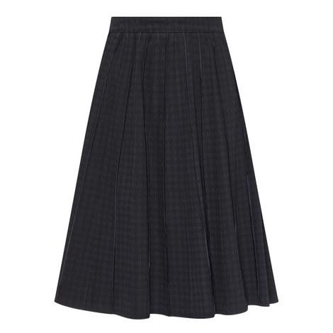 Pleated Gingham Denim Skirt, ${color}
