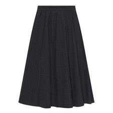 Pleated Gingham Denim Skirt