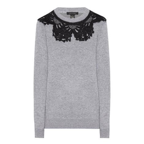 Crocheted Collar Sweatshirt, ${color}