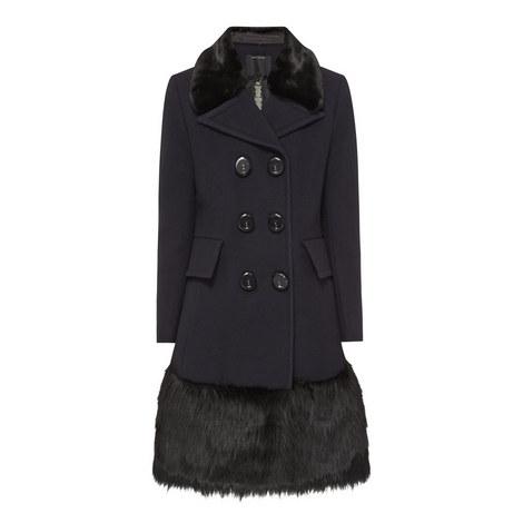 Faux Fur Trim Coat, ${color}