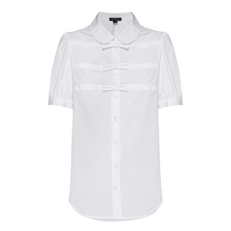 Bow Embellished Short-Sleeve Shirt, ${color}