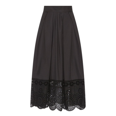 Lace Trim A-Line Skirt, ${color}
