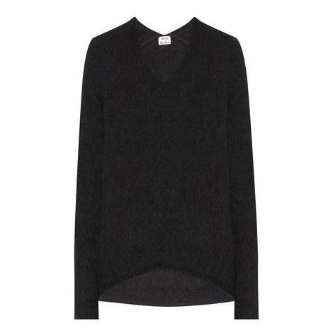 Deborah V-Neck Alpaca Knit Sweater, ${color}
