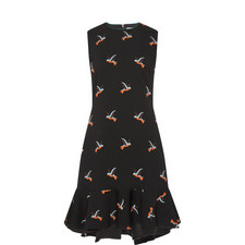 Flounce Hem Bird Print Dress