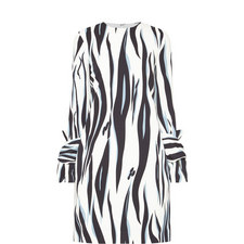 Twist Sleeve Printed Dress