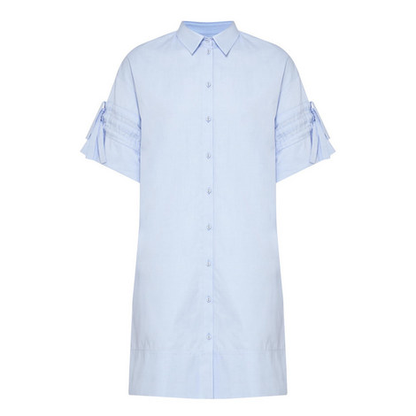 Gathered Sleeve Shirt Dress, ${color}
