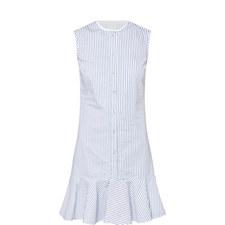 Stripe Flounce Hem Shirt Dress