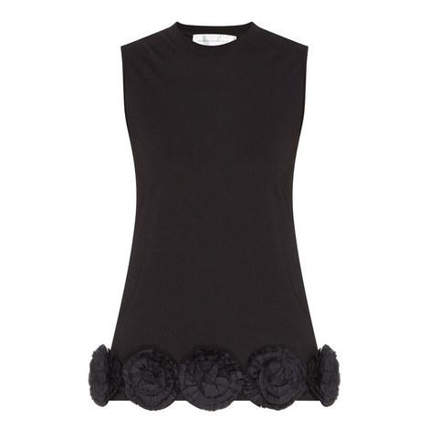 Flower Appliqué Sleeveless T-Shirt, ${color}