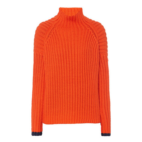 Relaxed Fit Polo Neck Sweater, ${color}