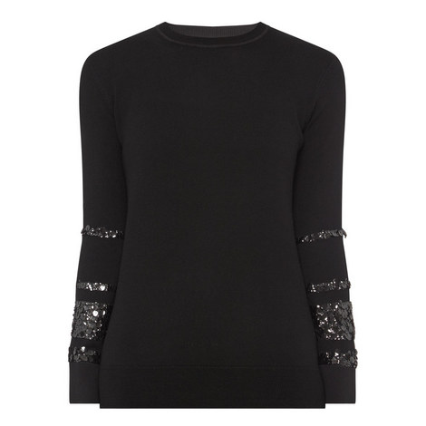 Contrast Cuff Sweater, ${color}