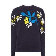 Flower Appliqué Sweater