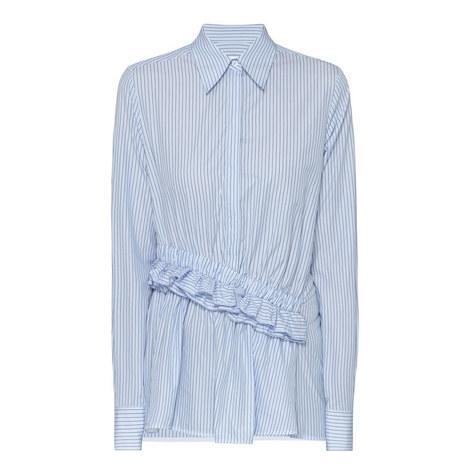 Striped Ruffle Waist Shirt, ${color}