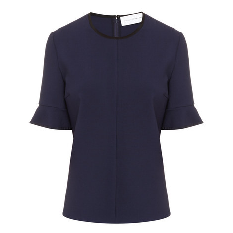Bell Sleeve Stretch-Wool Top, ${color}