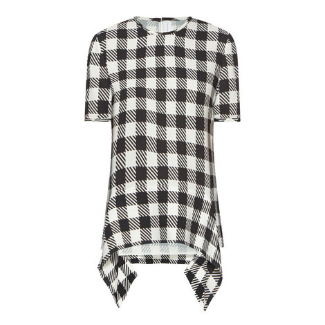 Gingham Draped Hem Top, ${color}