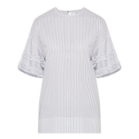 Frill Sleeve Stripe Top, ${color}