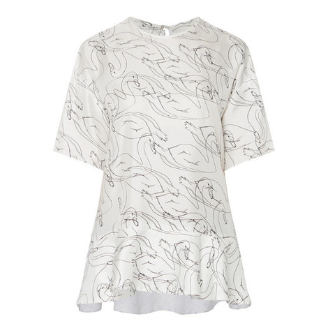 Drop Sleeve Swan Print Top, ${color}