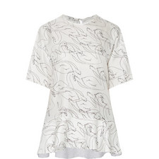 Drop Sleeve Swan Print Top