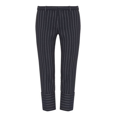 Cropped Pinstripe Trousers, ${color}