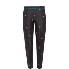 Bird Print Silk Trousers