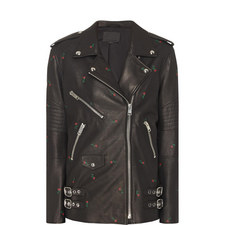 Rose Embossed Leather Jacket