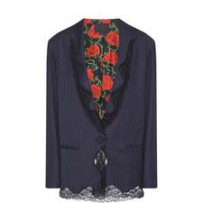 Pinstripe Lace Collar Blazer