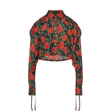Rose Print Cropped Blouse