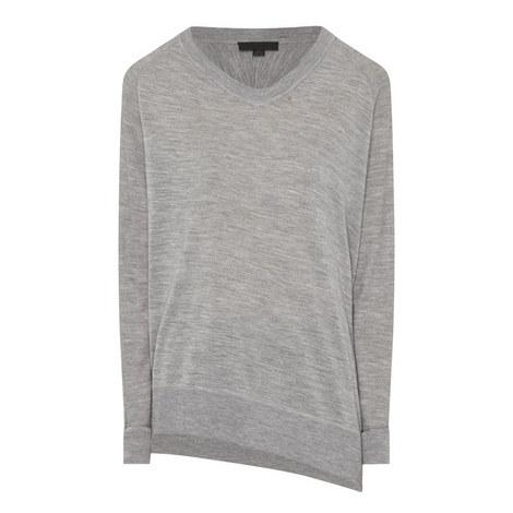 Asymmetrical V-Neck Sweater, ${color}