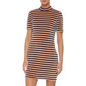 Short Sleeve Stripe Dress, ${color}