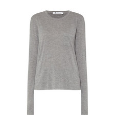 Cropped Long-Sleeved Pocket T-Shirt