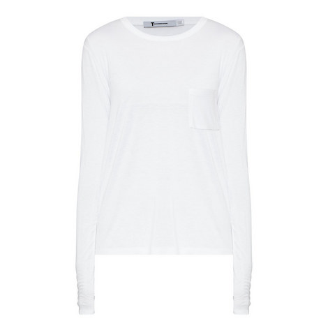 Cropped Long-Sleeved Pocket T-Shirt , ${color}