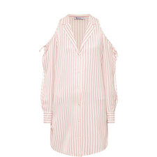 Stripe Cold-Shoulder Shirt Dress