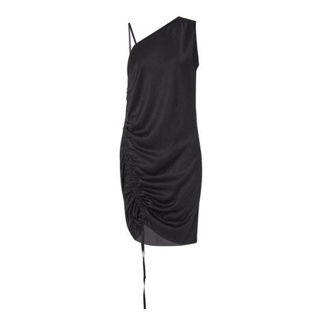 One-Shoulder Asymmetrical Drape Dress , ${color}