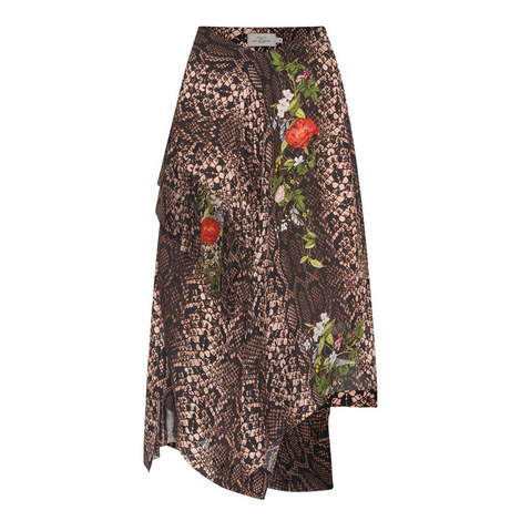 Floral Python Silk Skirt , ${color}