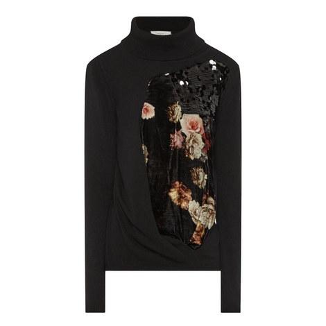 Facade Floral Panel Polo Sweater, ${color}