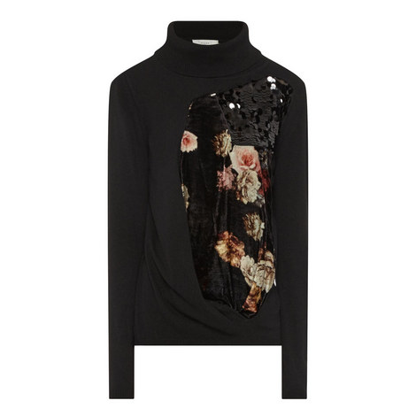 Facade Floral Panel Polo Sweater, ${color}