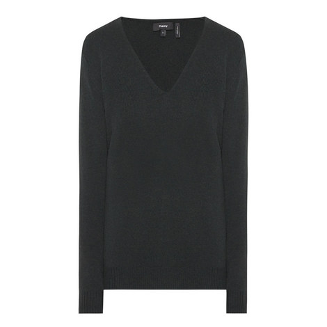 Adrianna V-Neck Cashmere Sweater, ${color}