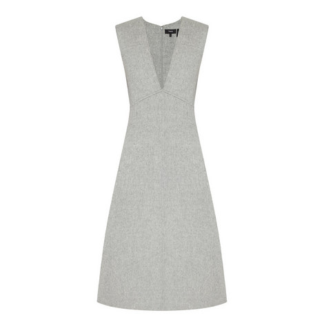 Wool V-Neck Dress, ${color}