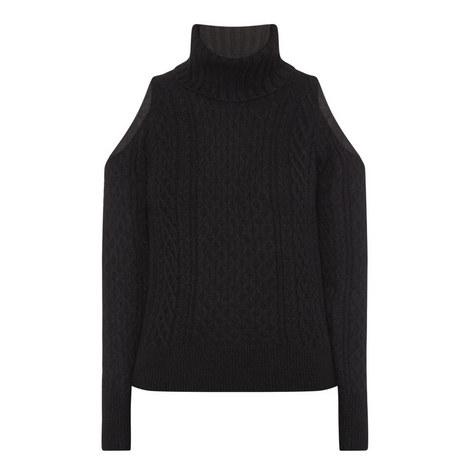 Cold Shoulder Polo Neck Sweater, ${color}