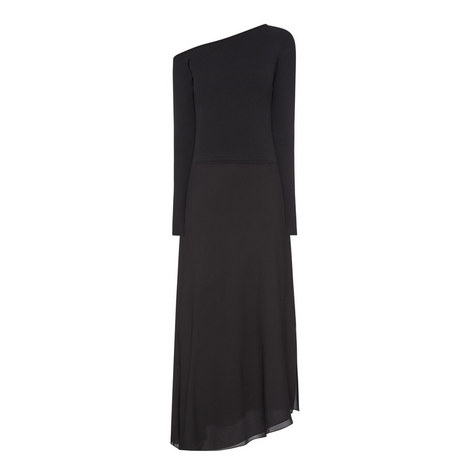 Asymmetric Silk Sweater Dress, ${color}