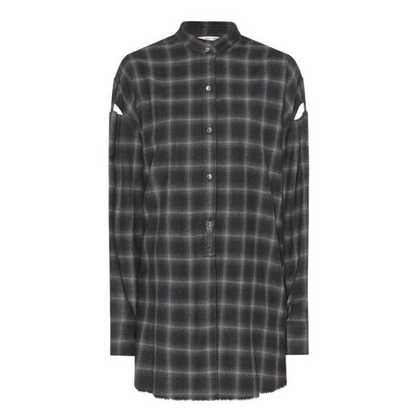 Collarless Flannel Shirt, ${color}