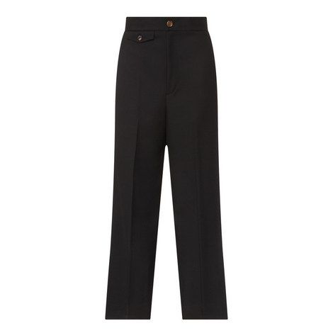 Cropped Wool Twill Trousers, ${color}