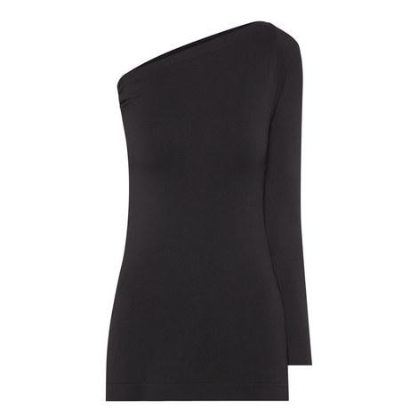 One Shoulder Long Sleeve Top, ${color}