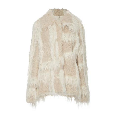 Plaid Faux Fur Jacket, ${color}