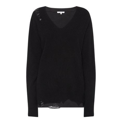Distressed V-Neck Sweater, ${color}