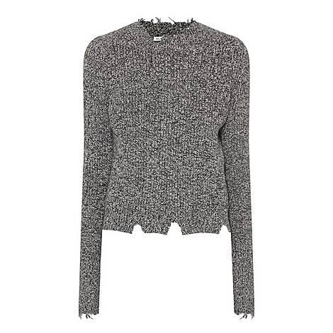 Grunge Round Neck Marl Sweater, ${color}